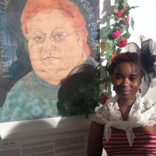 Selogadi Ngwanangwato Mampane with portrait of Sally Gross